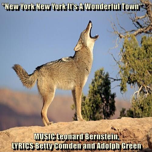 """New York New York It's A Wonderful Town""  MUSIC Leonard Bernstein,                                        LYRICS Betty Comden and Adolph Green"