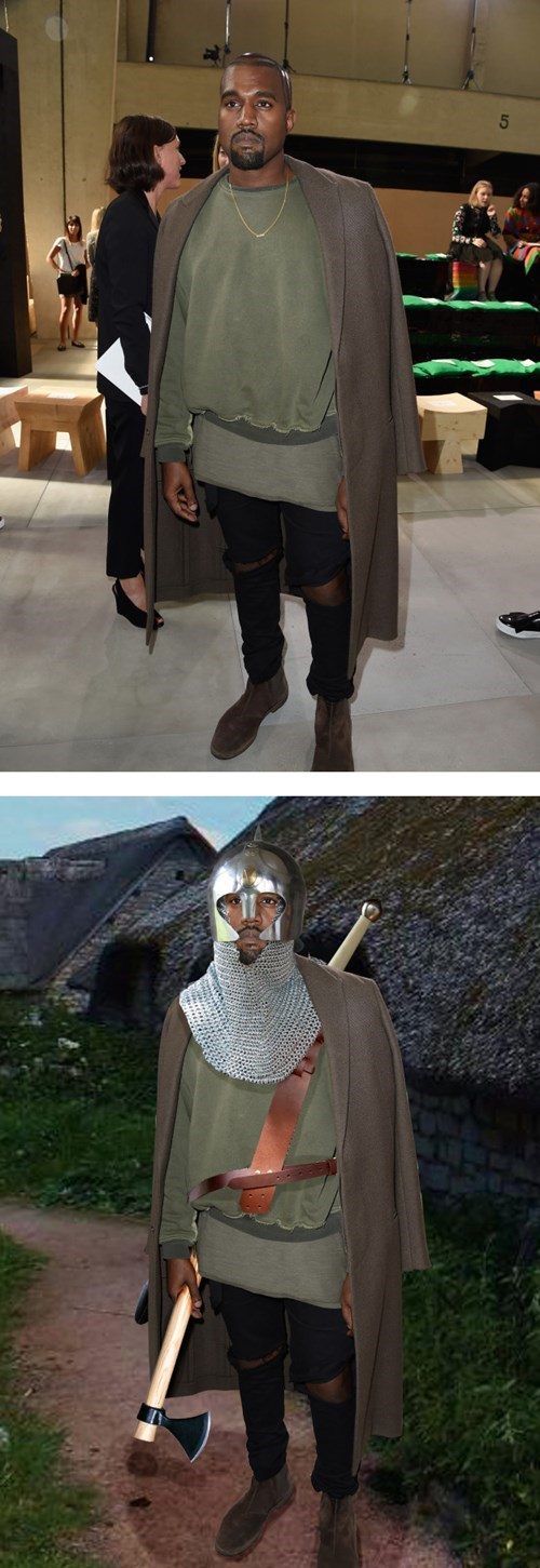 Kanye West Definitely Dressed Up Like a Level 1 RPG Character for a Recent Fashion Show