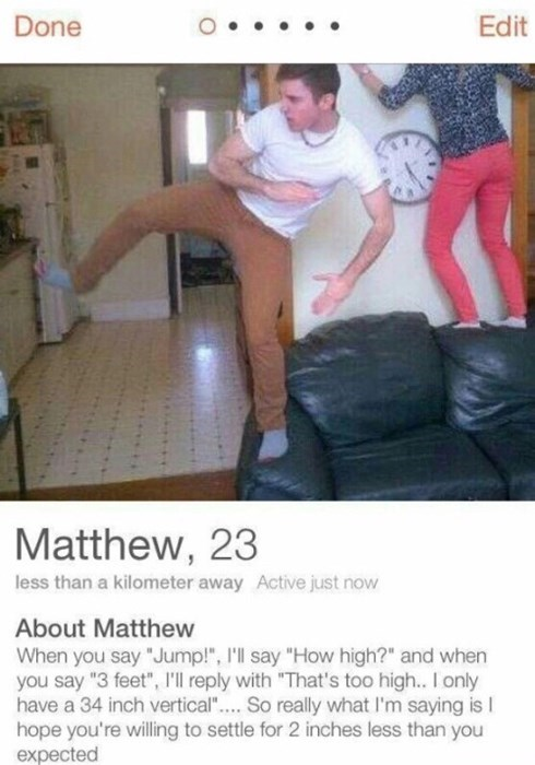 funny tinder image At Least He's Honest?