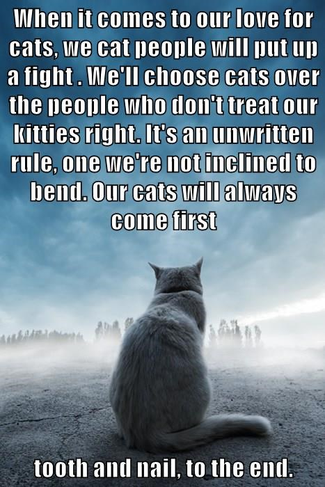 When it comes to our love for cats, we cat people will put up a fight . We'll choose cats over the people who don't treat our kitties right. It's an unwritten rule, one we're not inclined to bend. Our cats will always come first   tooth and nail, to the e