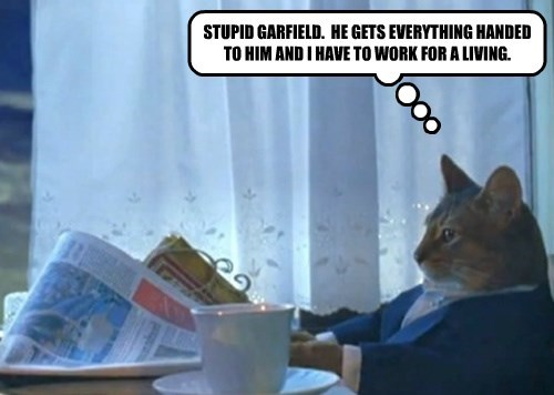STUPID GARFIELD.  HE GETS EVERYTHING HANDED TO HIM AND I HAVE TO WORK FOR A LIVING.