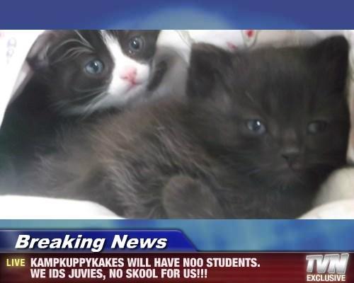 Breaking News - KAMPKUPPYKAKES WILL HAVE NOO STUDENTS. WE IDS JUVIES, NO SKOOL FOR US!!!