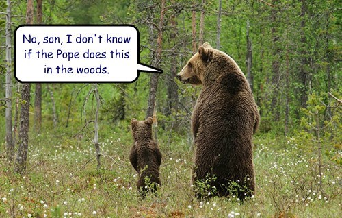 No, son, I don't know if the Pope does this in the woods.