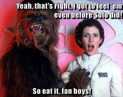 Yeah, that's right, I got to feel 'em even before Solo did!  So eat it, fan boys!