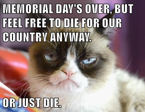 MEMORIAL DAY'S OVER, BUT FEEL FREE TO DIE FOR OUR COUNTRY ANYWAY.  OR JUST DIE.