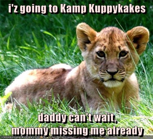 i'z going to Kamp Kuppykakes  daddy can't wait,                                                 mommy missing me already