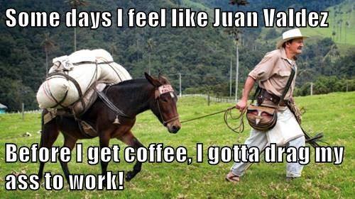 Some days I feel like Juan Valdez  Before I get coffee, I gotta drag my ass to work!