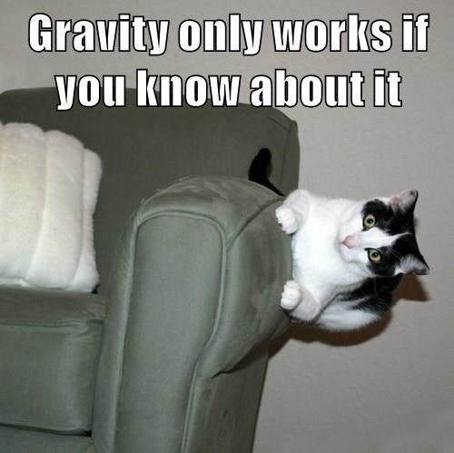 Gravity only works if you know about it