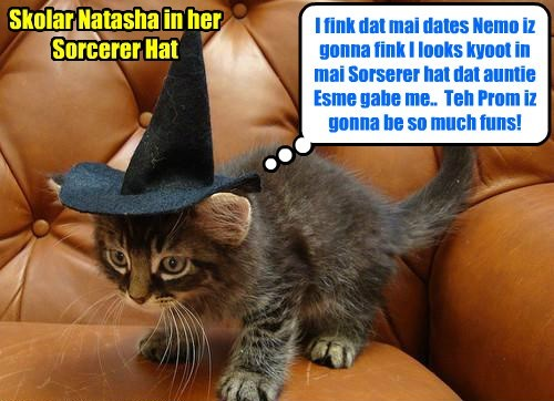 KKPS Prom 2015: Sweet Skolar Natasha will wear teh enchanted Sorcerer's Hat dat her auntie Madame Esmeralda gabe her to help her wiff her magic spells..