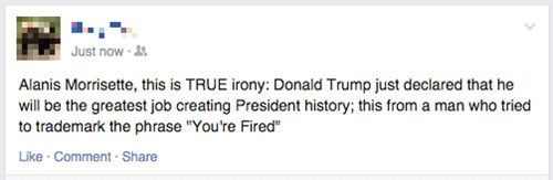 funny facebook status donald trump 2016 presidential nomination bid irony