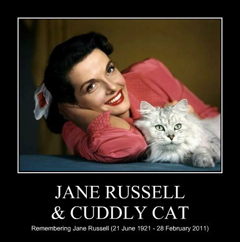 JANE RUSSELL & CUDDLY CAT