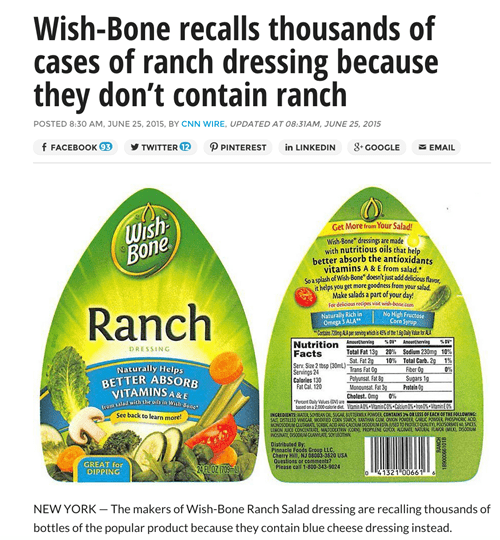 ranch dressing recalled blue cheese