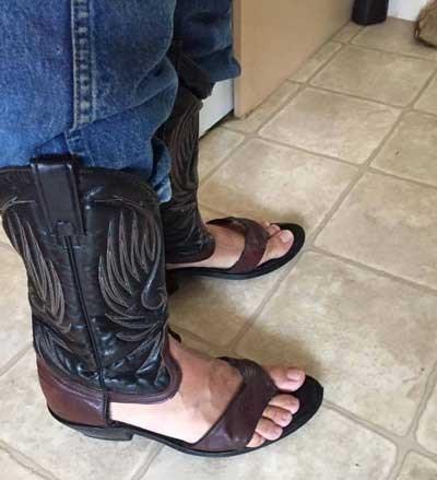 sandals cowboy boots combined