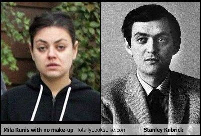 Mila Kunis with no make-up Totally Looks Like Stanley Kubrick
