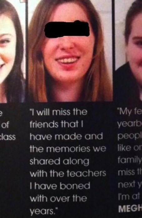 yearbook quote boned with teachers