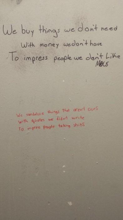 bathroom, poetry, impressions, vandalism