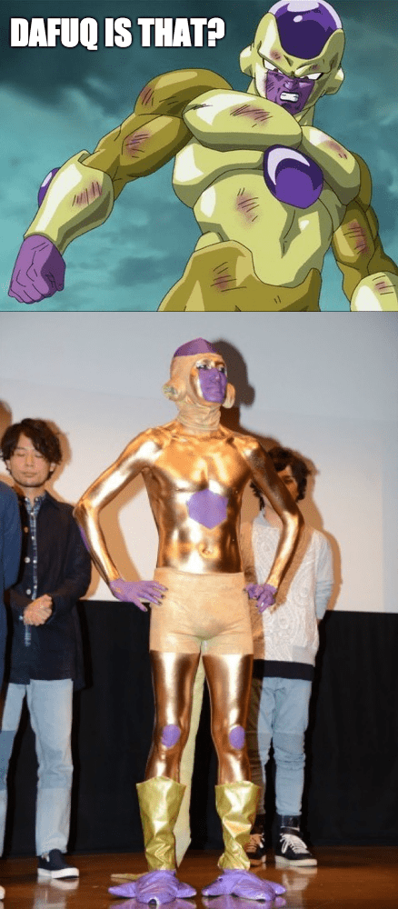 anime memes terrible gold frieza cosplay