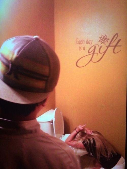 drunk, barf, bathroom, gift