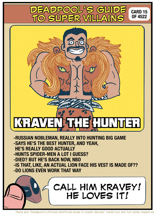 deadpool,kraven the hunter,Straight off the Page