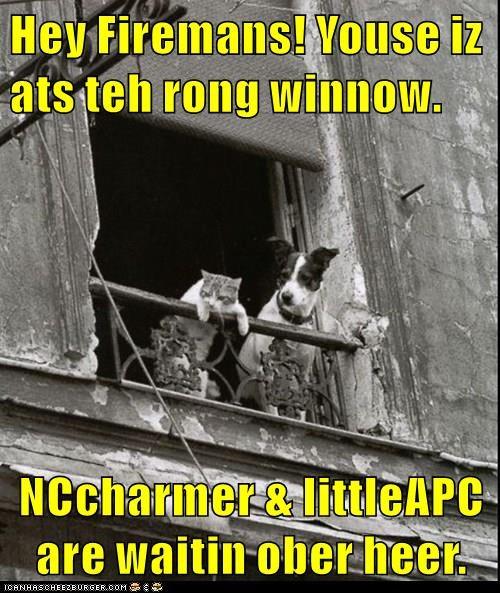 Hey Firemans! Youse iz ats teh rong winnow.  NCcharmer & littleAPC are waitin ober heer.