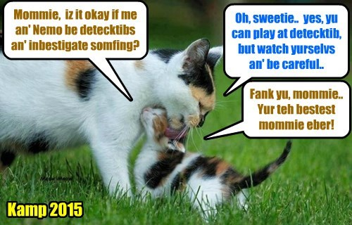 Brave little Dooby gets permishuns to be a detecktive kittie, but mamacat Sahara finks Dooby iz just playin' a game.. She haz no idea what grate danjers Dooby & Nemo will be in as dey inbestigate teh Aliens Lustroid & Shmerg!