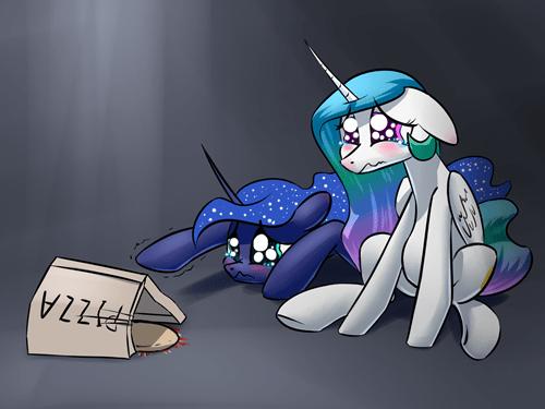 Sad,pizza,princess luna,princess celestia