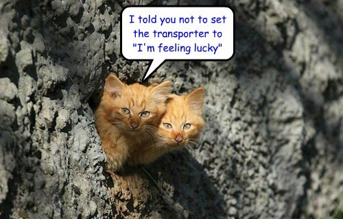 """I told you not to set the transporter to """"I'm feeling lucky"""""""