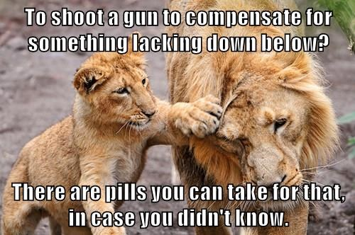 To shoot a gun to compensate for something lacking down below?   There are pills you can take for that, in case you didn't know.