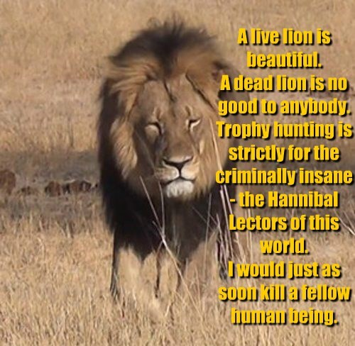 A live lion is beautiful. A dead lion is no good to anybody. Trophy hunting is strictly for the criminally insane - the Hannibal Lectors of this world. I would just as soon kill a fellow human being.