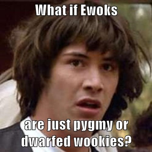 What if Ewoks  are just pygmy or dwarfed wookies?