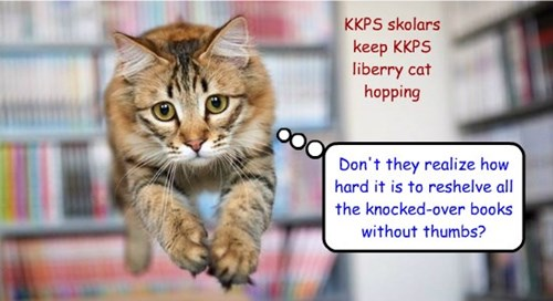 KKPS skolars keep KKPS liberry cat hopping