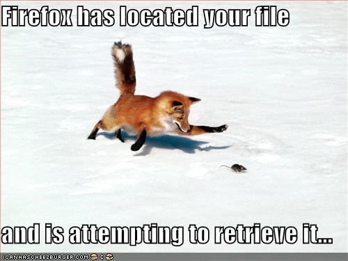 Firefox has located your file  and is attempting to retrieve it...