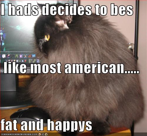 I hads decides to bes   like most american..... fat and happys