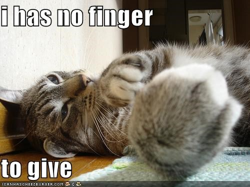 i has no finger  to give