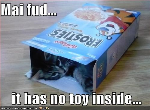 Mai fud...  it has no toy inside...