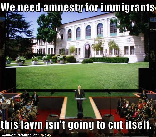 We need amnesty for immigrants  this lawn isn't going to cut itself.