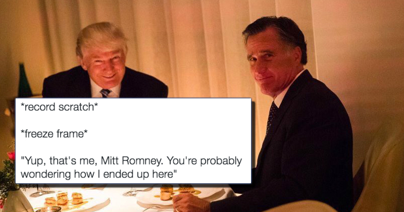 the awkward photo of donald trump and mitt romney having dinner is