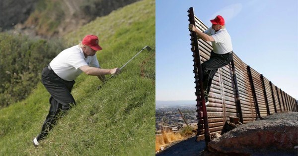 trump climbing up a golf course green launches a photoshop battle for the ages