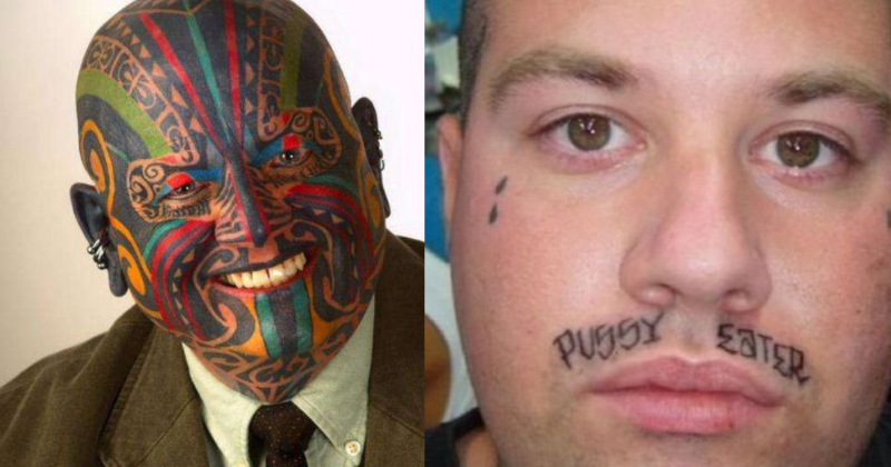 53 wtf face tattoos that are a sign your life might have for Strange world tattoos