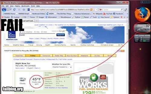 Windows Vista Weather Gadget Fail