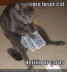 Sore Loser Cat Defilin Ur Cards Cheezburger Funny