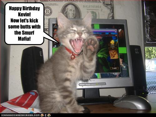 happy birthday kevin lets kick butts smurf mafia cheezburger funny