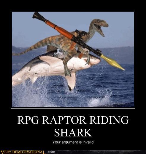 rpg raptor riding shark - very demotivational