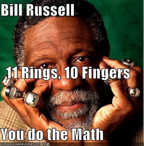 Bill Russell 11 Rings 10 Fingers You Do The Math
