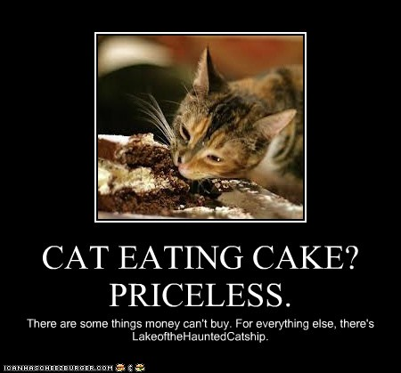 Cat Eating Cake Priceless Cheezburger Funny Memes