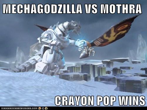 Mechagodzilla Vs Mothra Crayon Pop Wins Cheezburger