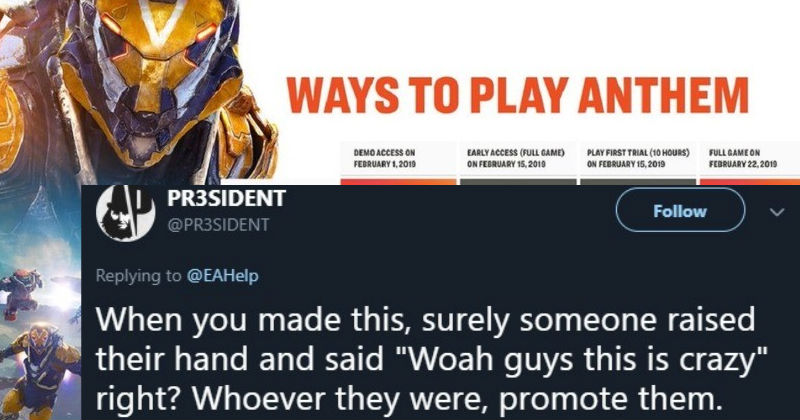 Angered Twitter Users Brutally Call Out Ea For Its Anthem Release