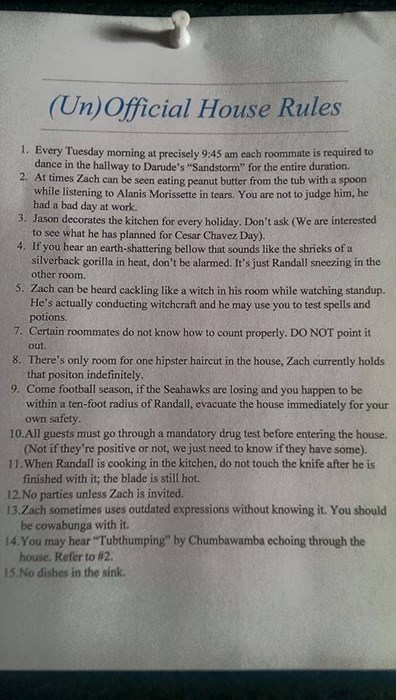 Seeking: Awesome Roommate Who Can Understand These Rules ...