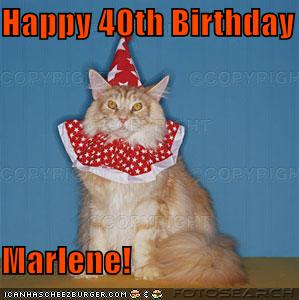 Happy 40th Birthday Marlene Cheezburger Funny Memes