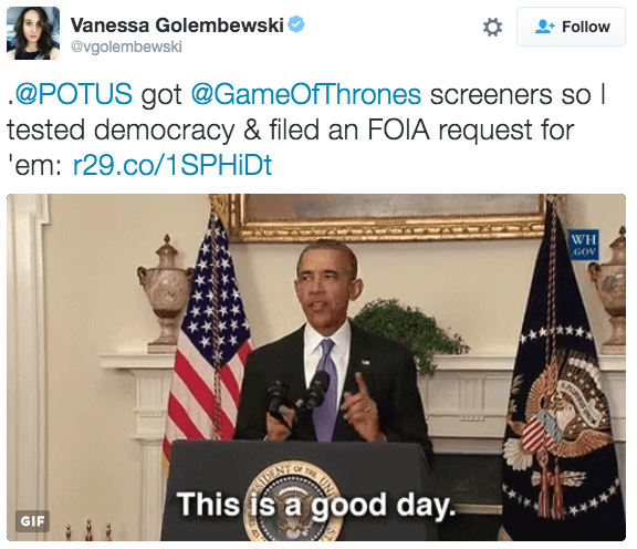 Brave Journalist Officially Asks Obama To Share His Game of Thrones